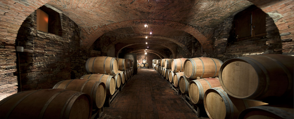"The ""cantina vecchia"" (old cellar) that has housed barrels of aging wine for centuries"