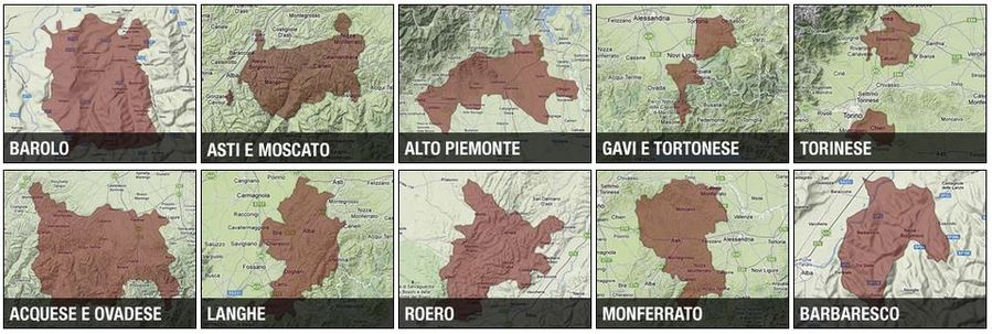 Maps of wine zones of Piemonte