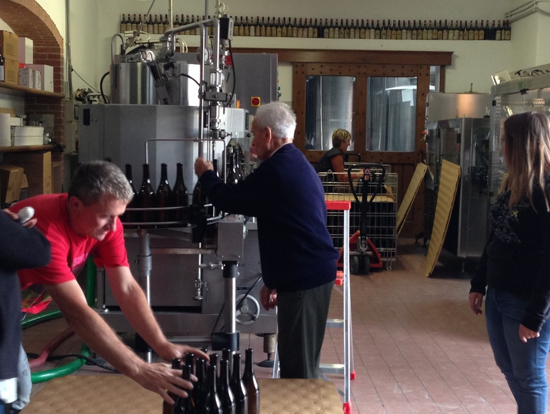 Bottling wine at the Ca' del Baio in Barbaresco