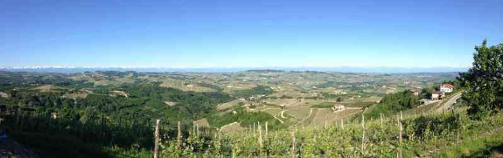 A panoramic view of the Barolo appellation taken from Maurizio Rosso's family farm in Diano d'Alba